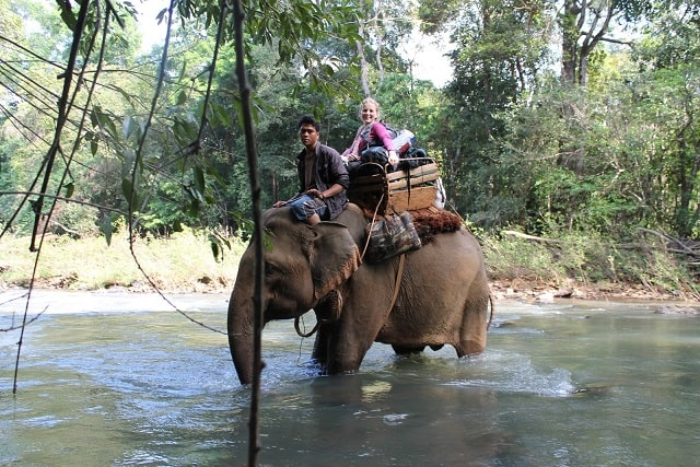 Elephant Trekking in Mondulkiri - Crossing a River