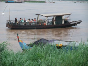 Dining on a boat on the Mekong